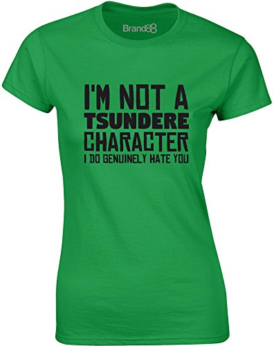 Brand88 - Tsundere Character, Gedruckt Frauen T-Shirt Grün/Schwarz