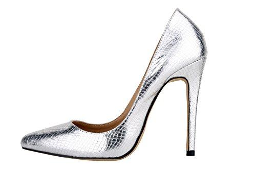 HooH Femmes Motif Alligator Pointu Elegance Escarpins silver