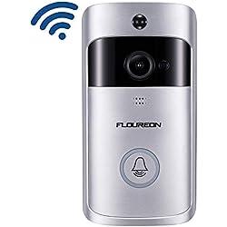 Floureon Sonnette de Porte Vidéo, Sonnette Smart WiFi, Sonnette Vidéo sans Fil avec 720P HD Caméra et Vidéo PIR Détection de Mouvement Vision Nocturne Audio Bidirectionnel Stockage en Nuage Gratuit