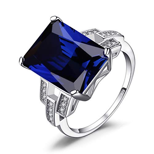 Jewelrypalace Luxe en Forme de Emeraude 9,6ct Blue en Saphir de Synthèse Cocktail Bague véritable en Argent 925