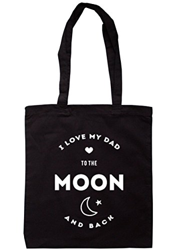breadandbutterthreads i love my dad to the Moon and Back Borsa 37,5 cm x 42 cm con manici lunghi Black