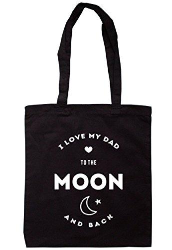 breadandbutterthreads i love my dad to the Moon and Back Borsa 37,5cm x 42cm con manici lunghi Black