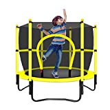 Gartentrampoline Trampolin Kinder Trampolin Fitnessgeräte Indoor Trampolin mit Netz Kinder Bounce Bett Fitness Trampolin (Color : Yellow, Size : 120 * 120 * 130cm)