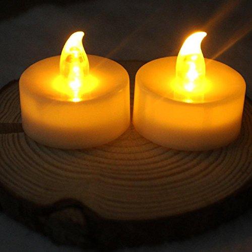 Atcoe luz de las velas Batería operado LED amarillo helado llama parpadeo parpadeo velas ligeras del té, paquete de 24