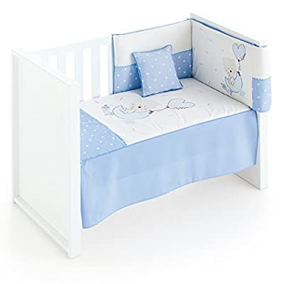 Edredón de Cuna desenfundable + protector desenfundable + Cojín Piruleta Azul Petite Star, tamaño CUNA 60 x 120