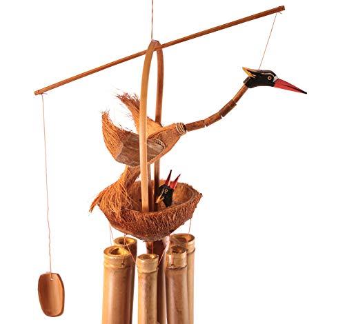 Windspiel Vogel 70cm aus Bambus und Kokosnuss - handgefertigte Klangspiele und Glockenspiele mit Bambusrohren aus Bali zur Dekoration für Garten und Zimmer