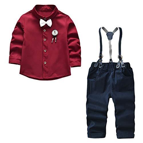 Kinderanzug Langarm-Shirt Fliege + Strap Hose Gentleman Set
