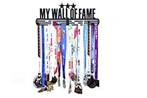 RUNWYND Wall of Fame 3 Stars Metal Medal Hanger with 3 Rows - Black