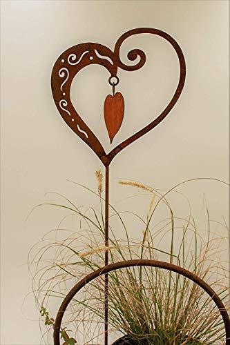 Rost Herz mit Innenherz 65cm Stecker - 3