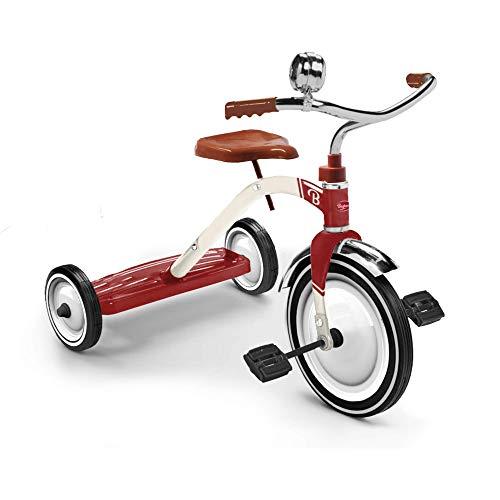 Baghera Triciclo per Bambini Rosso | Triciclo a pedali con tre ruote in stile vintage elegante e robusto | Bici triciclo per bambini da 2 anni d'età