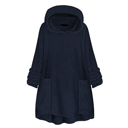 Andouy Damen Sweatshirt Winter Warm Hoodie Kapuze Kunstpelz Fleece Hoodies Pullover mit Taschen(4XL.Blau)