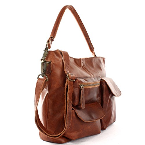 LECONI Schultertasche Ledertasche Vintage Look echt Leder Natur großer Shopper Damentasche 41x32x10cm LE0039 Braun