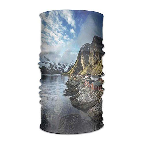 Woman's Mens Turban Fishing Hut Photo in Autumn with Rocks and Clouds Scenery Northern Norway Cold Fashion Headkerchief (Hüte Jamaican)