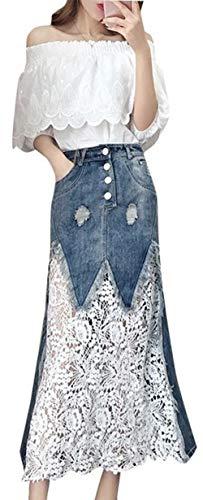 Scothen Damen Denimkleid 2 Pics Chiffon-Spitze T-Shirt+Jeansrock Lange Kleider Denim-Nähten Frühling Sommer Hemdkleid Knielange Blusekleid Damenrock kniebedeckt Rock Knielang - Chiffon Denim