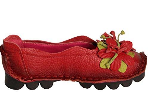 Vogstyle Donna Nuove Scarpe Stringate Basse In Pelle Stile-1 Rosso