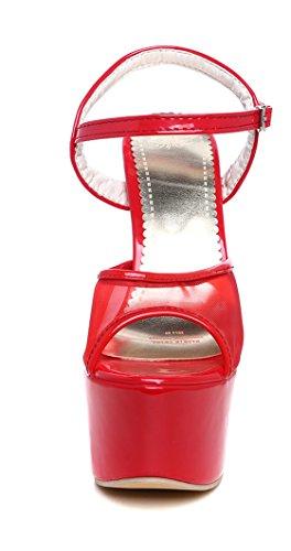 YE Damen Extreme High Heels Plateau Stiletto Sandaletten mit Schnalle Lack Mesch Pumps Party Schuhe Rot