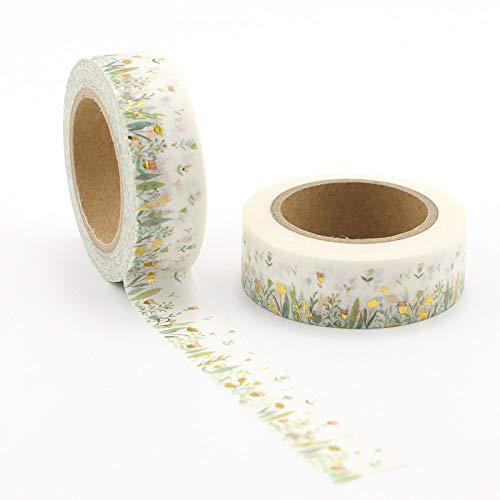 MONVNV 5 Stücke Bunte Folienanlagen & Floral Washi Klebeband Diy Dekoration Scrapbooking Planer Masking Tape Kawaii Briefpapier Klebeband