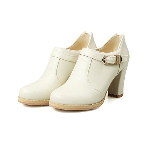 Adee Femme Round-Toe Western polyuréthane Pompes Chaussures Blanc