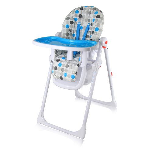 iSafe MAMA Highchair – Blue Circles Recline Compact Padded Baby High Low Chair Complete With Double Tray & Storage Basket 41hFGLIr49L
