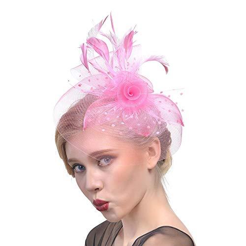 Brautnetz Federn Blume Headwear Hochzeitskleid Foto Clip Hut Kopfschmuck Stirnband für Frauen und...