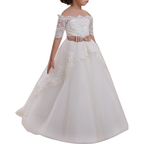 IBTOM CASTLE Festliches Mädchen Kleid Pinzessin Kostüm Lange Brautjungfern Kleider Hochzeit Party Festzug #10 Weiß 8-9 Jahre