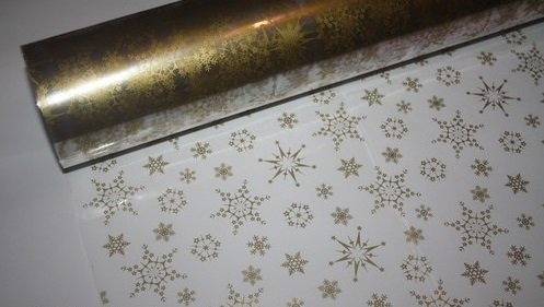 Gold Christmas Snowflake Cellophane Wrap - 5m x 80cm