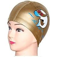 AK.SSI Casquillo Impermeable de la Gorra de la Nadada de la Gorra de la PU del Casquillo de la PU de Las Orejeras 1pcs (Dorado)