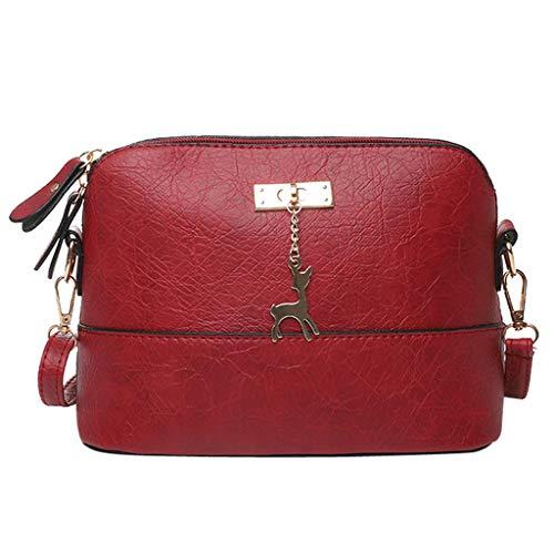 HCFKJ Tasche, Damen Plissee Umhängetasche Fawn Anhänger Shell Schultertasche Messenger Bag (RD)