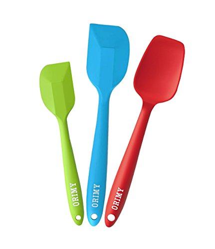 ORIMY Silikon-Teigschaber -Set 2-teilig Teigschaber+1 Löffel Einem Kern Edelstahl und Nahtloses Einteiliges Design Hitzebeständiger-, Nonstick-, Flexibeler Spachtel für Zuckerguss, Bestreichen, Frosting - Grundlegende Küchenutensilien,Pâtisserie 100% lebensmittelechtes Silikon (Multi,3)
