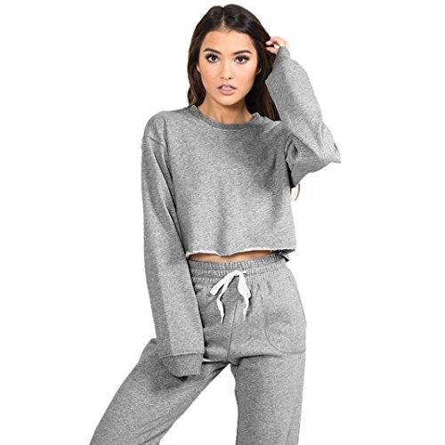 Sweatshirt Set Damen, DoraMe Frauen Trainingsanzug Feste Farbe Sweatshirt Set Sportbekleidung Anzug Blusen O Hals Tops (XL, Grau)