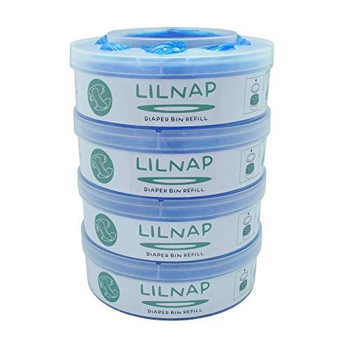 LILNAP - Recambios para el contenedor de pañales Sangenic Tommee Tippee & Sangenic Tec- recarga multicapa con tratamiento EVOH antibacteriano (4 recargas)