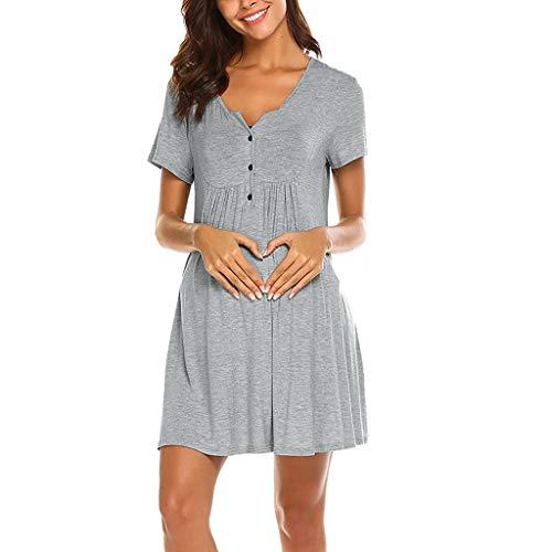 BfmyxgsSchwangere Frauen mit kurzen Ärmeln mit Knopf multifunktionale Mutterschaft Stillen Kleid
