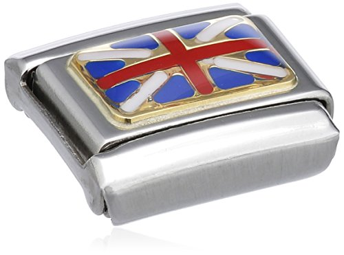 Nomination Composable Classic Flags of Europe Great Britain Stainless Steel, Enamel and 18K Gold