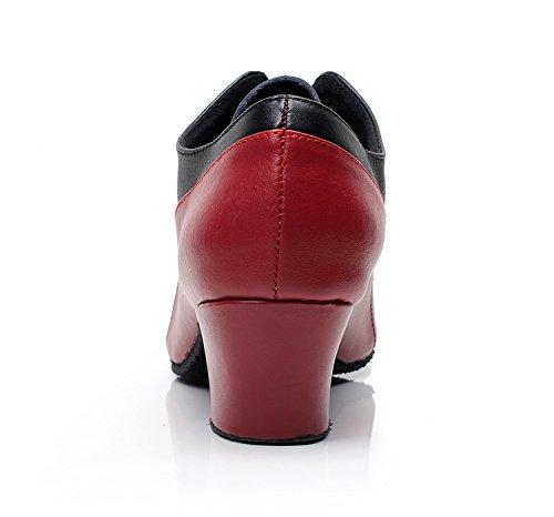 Minitoo QJ9003 Damen niedrig, moderne Salsa Tango Ballroom Latein Tanzschuhe für Partys am Abend Schwarz