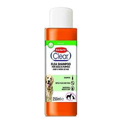 Bob Martin Clear Flea Repellent Shampoo for Dogs and Puppies - Repels Fleas and Ticks and Maintains a Healthy Coat, 250ml by Bob Martin