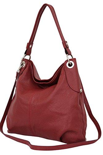 AMBRA Moda Damen echt Ledertasche Handtasche Schultertasche Beutel Shopper Umhängtasche GL012 (Dunkelrot)