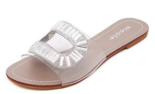 Aisun Damen Transparent Kunststoff Strass Flache Pantoffeln Silber