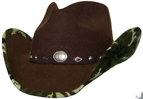 Modestone ''Faux Felt'' Cowboy-Hut Camo Under Brim Concho Hatband Brown -