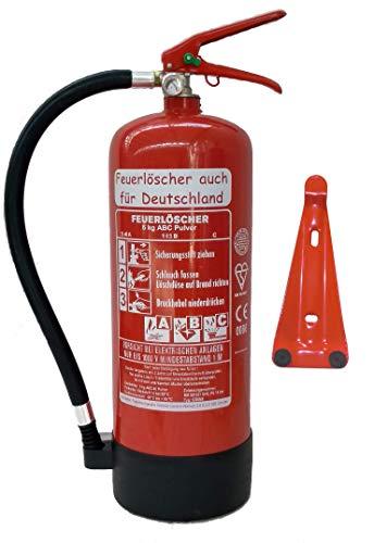 6 kg ABC Pulver Feuerlöscher NEU Orginalverpackt Brandklasse ABC, EN3, 34 A, 183 B, C = 10 LE, Messingarmatur + Sicherheitsventil + Manometer + Wandhalter + Standfuß, Pulverlöscher