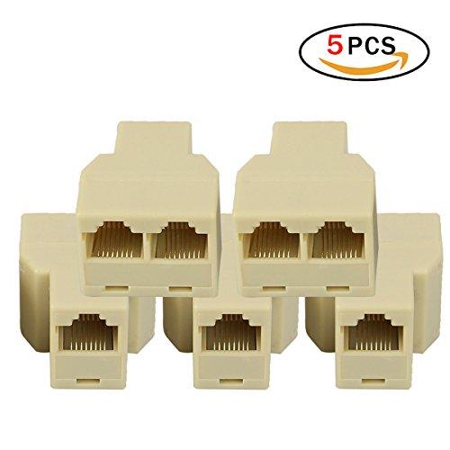Adattatori Splitter RJ45 Set di 5 Cavo Splitter Lan Ethernet da 1 a 2 femmina per Cat5, Cat5e, Cat6, Cat7