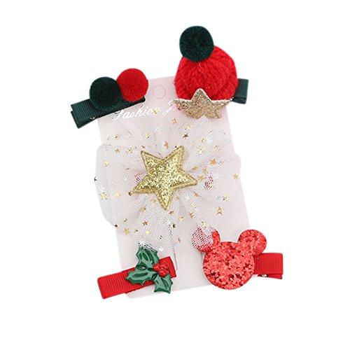 Mutter Kostüm Claus - W900/Set Kinder unten Alter Kinder Krone Schneemann Santa Claus Form Stoff Haarspange Haarspange Zubehör-Haar 5pcs Fil d'étoile