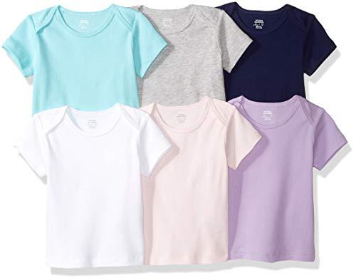 Amazon Essentials 6-Pack Lap-Shoulder Tee infant-and-toddler-t-shirt-sets, Solid Pink, Purple & Aqua, 0-3M