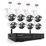 Système de Caméra Kit de WiFi Vidéo Surveillance sans Fil,SMONET 8 Canaux 1080P NVR et 8X 1080P Caméras avec 2 to Disque Dur, Vision Nocturne, Surveiller à Distance Via APP Gratuite
