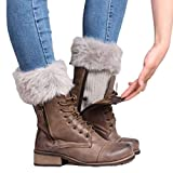 Voberry Women's Exclusive Knitted Fur Soft Leg Warmers Boot Cuff Boot Cover One Size Gray