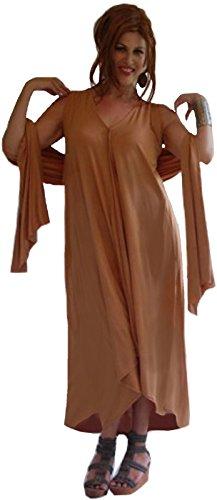 LOTUSTRADERS Damen Maxi Kleid mit Passenden Schal Satz (Batik Brown Dark)