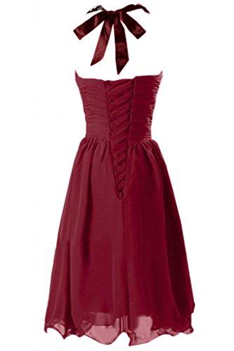 Sunvary Halter, con lacci, brillantini, increspata Homecoming vestiti Borgogna