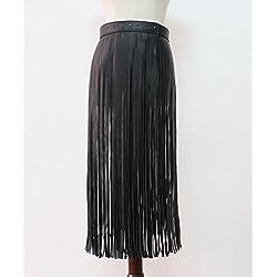 DCY Banda larga con flecos ajustable PU cuero falda cintura de las mujeres , black