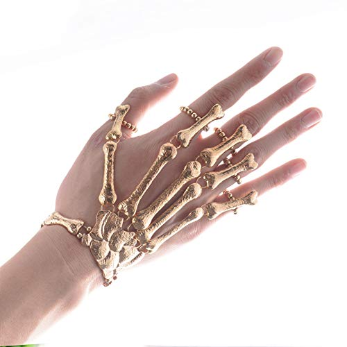 band Punk Rock Gothic Skeleton Knochen-Handtalon Greifer-Schädel-Armband Metallhandskelett Halloween Party Schmuck (Gold 1PC) ()