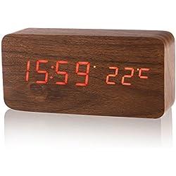 LUOEM Reloj Digital Madera con 3 Alarmas Indicador de Temperatura y Sensor