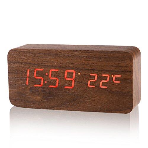 LUOEM Sveglia Digitale Legno con 3 Indicatore di Temperatura e Sensore